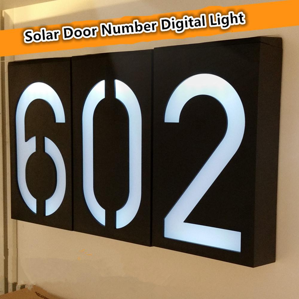 From 0 to 9 Solar Powered 6LED Light Sign House Hotel Door Address Plaque Number Digits Plate Waterproof Doorplate Lamp Outdoor Lighting