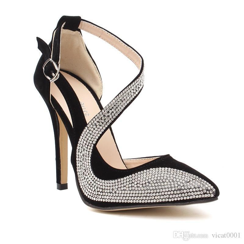 2f1d06f4a7 Compre Rhinestone Romántico Tacones Altos Zapatos De Vestir Femeninos  Zapatos De Tobillo Zapatos De Mujer Clásico Tacón Alto Elegante Tacones A   24.73 Del ...