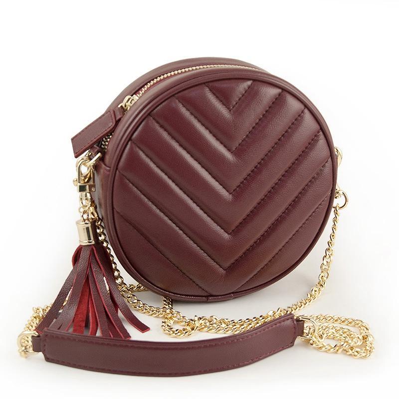 Design Round Quilted Genuine Leather Bag For Women Messenger Bag With Fringe  Wristlet Lambskin Female Circle Purse Brand Sac Fashion Bags Handbag  Wholesale ...