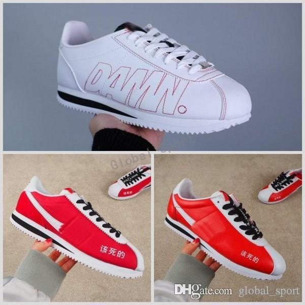 big sale 66fb7 8432f 2018 Cortez X Kendrick Lamar Damn QS Leather leisure Nlyon Casual White Red  men women Shoes fashion Designer Running Sneakers