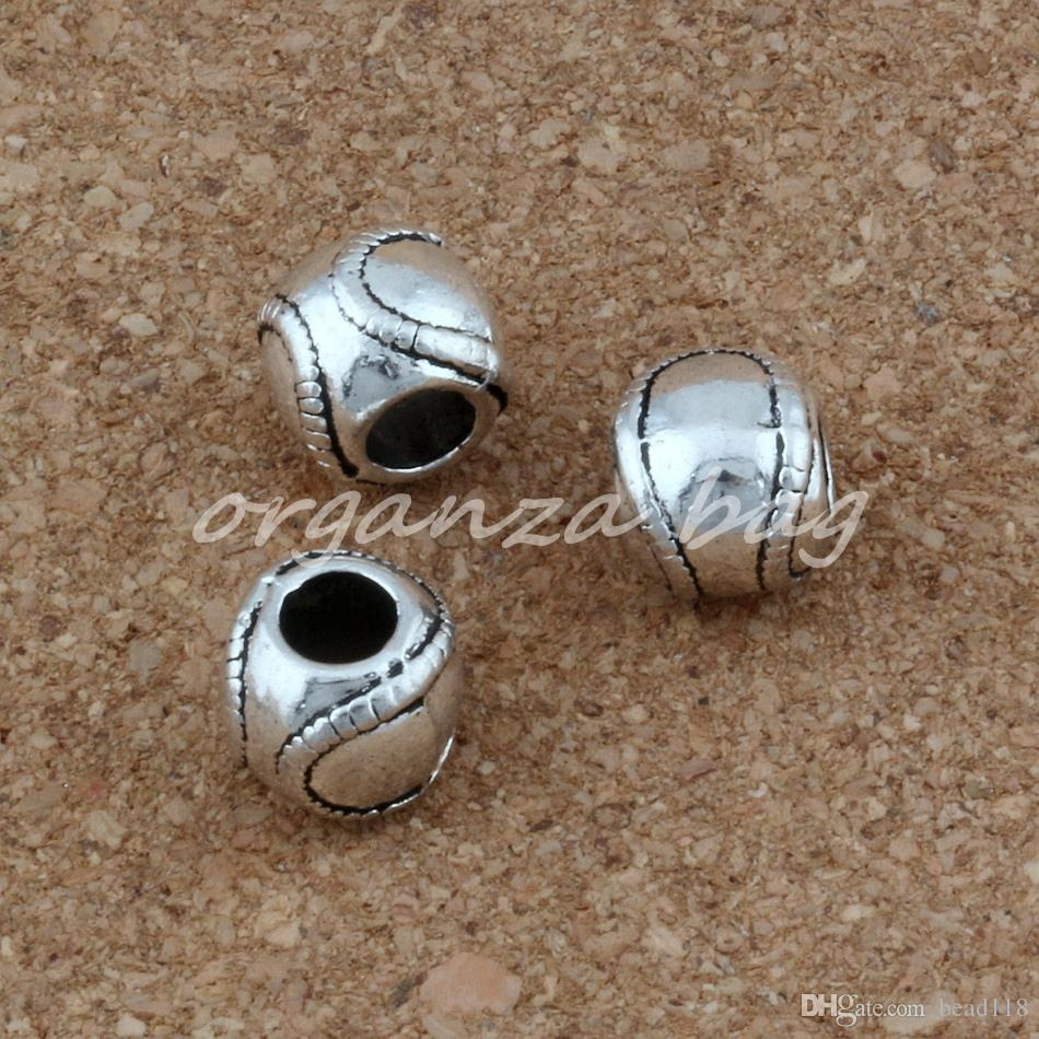 Big Hole Antique liga de prata Bolas de Beisebol Softball Encantos Fit Pandora Pulseira Charme Europeu Jóias Beads Atacado 9x10.5mm F-1