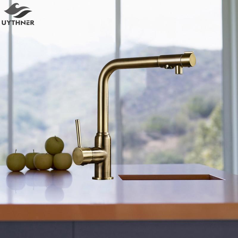 Uythner Solid Brass Antique Brass Kitchen Faucet W/ Base Deck ...