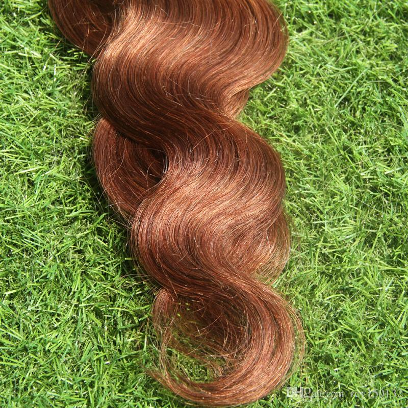 #30 Auburn Brown tape hair extensions human Body Wave 100g Machine Made Remy Hair On Adhesives Tape PU Skin Weft Invisible hair