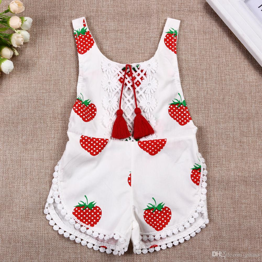 db6192545 2019 Lovely Baby Girls Romper Newborn Summer Sunsuit Clothes Infant Kids  Sleeveless Strawberry Printed Backless Halter Jumpsuit From Gomo, $3.22    DHgate.