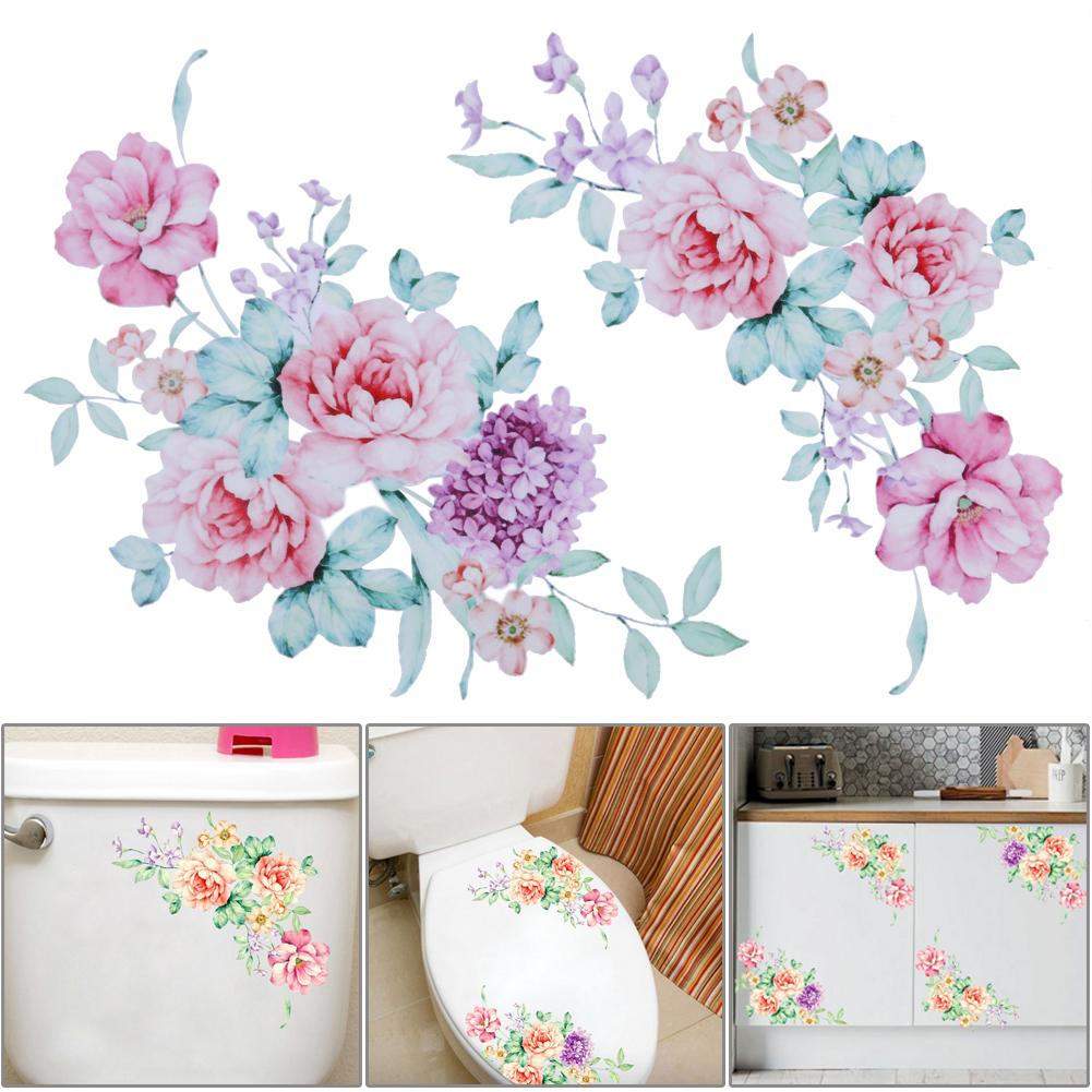 New Peony Toilet Stickers Home Decoration Wall Stickers Vinyl Wallpaper Decals for Toilet Fridge Kids Living Room Home Decor