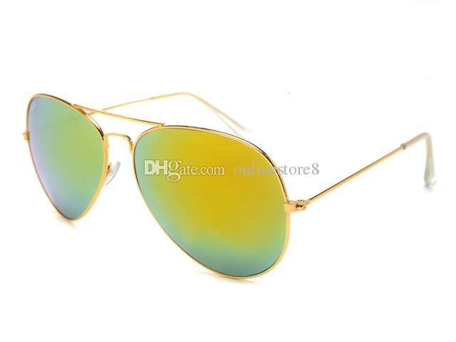 Brand Designer Occhiali da sole Classic Occhiali da sole uomo Donna Driving Glasses UV400 Montatura in metallo Flash Mirror Lenti con rivestimento