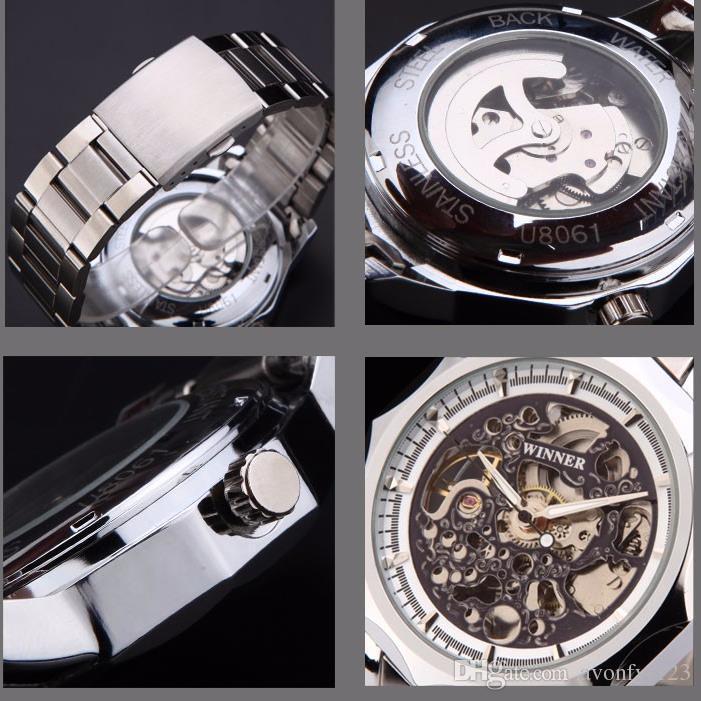 Ganador A Estrenar Moda Reloj de Oro Estilo de Acero Hombres Hombres Reloj Clásico Mecánico Auto viento Vestido de Pulsera Reloj Esqueleto Regalo A527