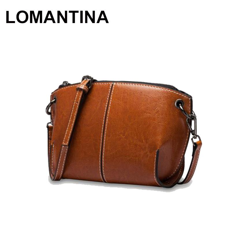 LOMANTINA Brand Leather Women Messenger Bag High Quality Oil Wax Leather  Small Crossbody Shell Bags Girls Casual Bag Leather Purse Womens Purses From  ... e7e3c59a6f293