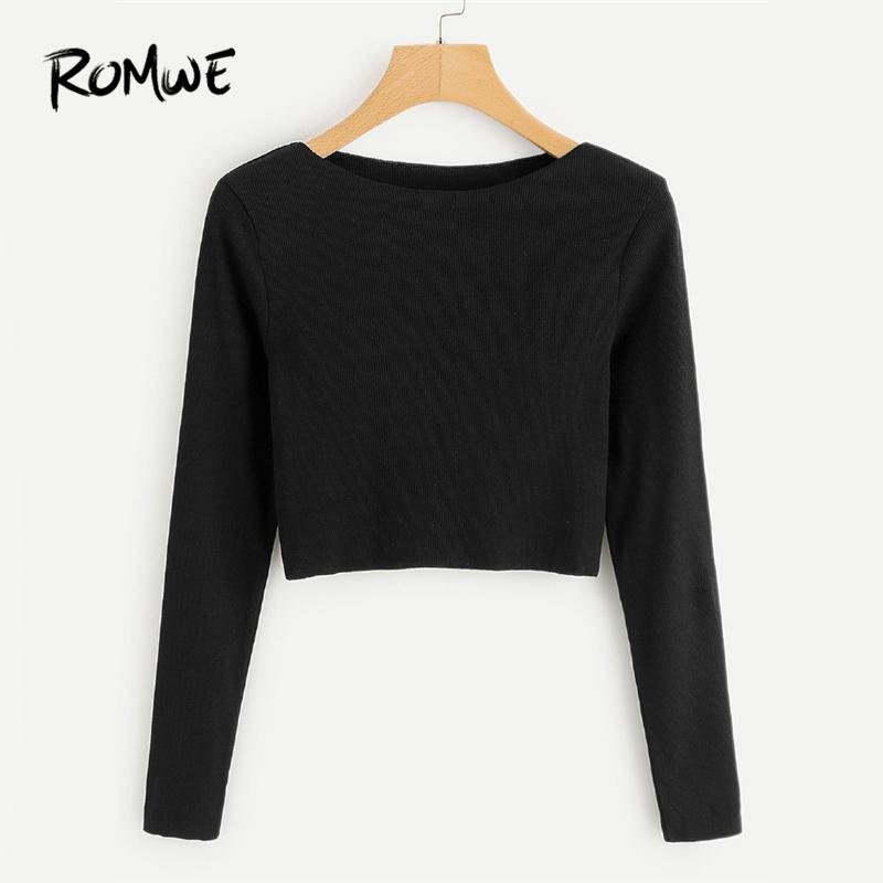 d2cf55e86ef520 ROMWE Ribbed Knit Crop Black Tee Shirt Female Boat Neck Long Sleeve Elegant  Clothing Autumn Women Top Casual Crop Plain T Shirt Buy Funny Shirts  Interesting ...