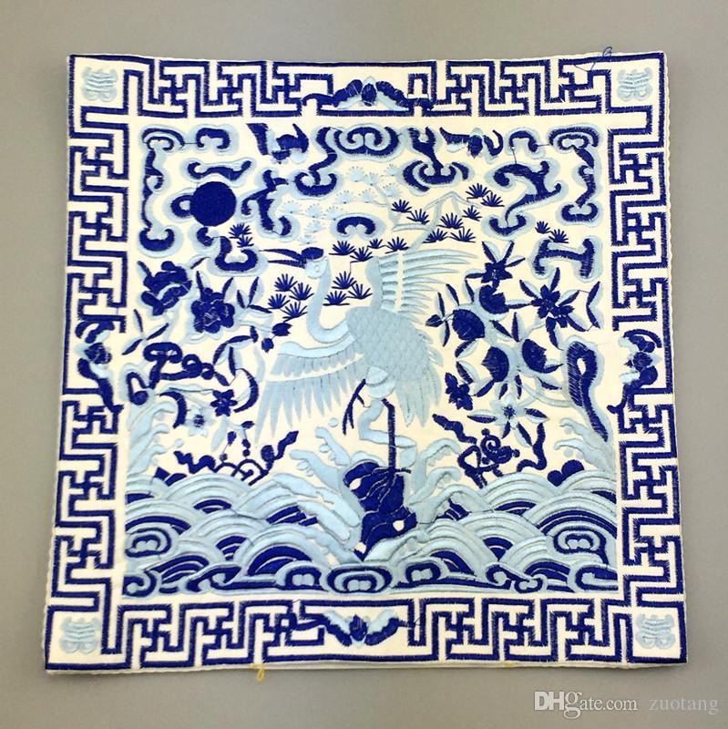Kreative Stickerei Crane Silk Tuch Dekorative Tischsets Esstisch Platte Matte Chinesische Ethnische Abendessen Isolierung Pad