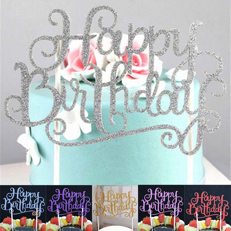 Grosshandel Neue Glitter Script Cake Toppers Kinder Happy Birthday Party Andere Bevorzugungen Cupcake Lieferungen Dekorationen Werkzeuge FFA384 Von
