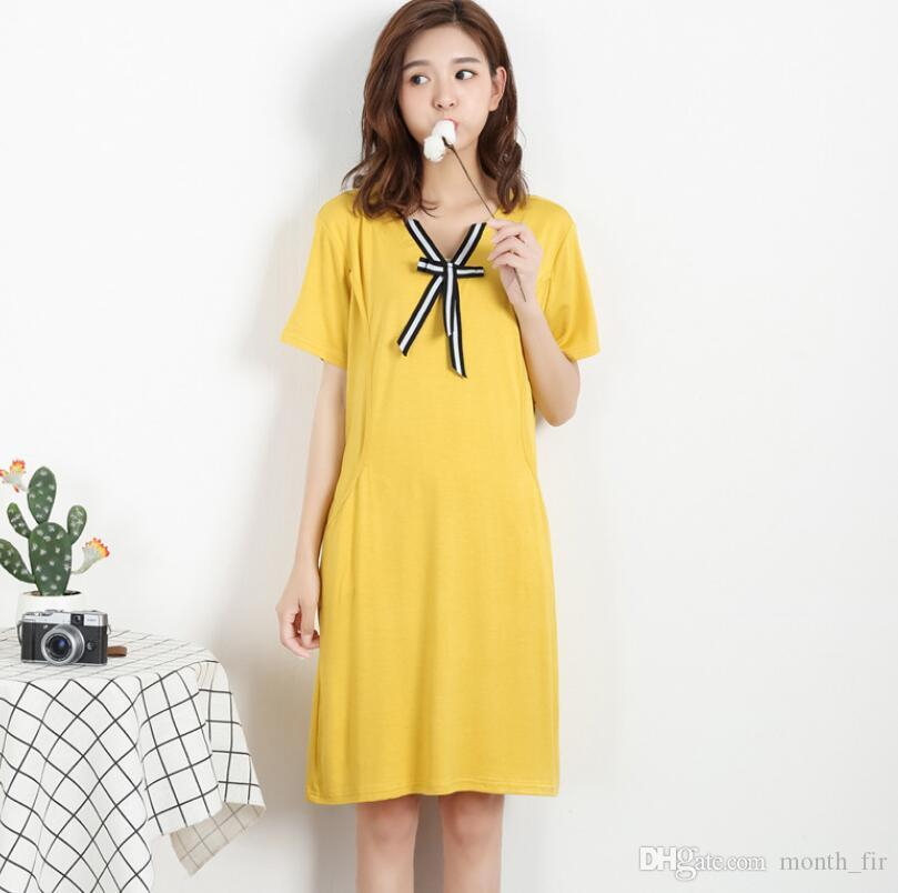 Bow Pregnancy Nursing Dresses Maternity Modal Breastfeeding Dress