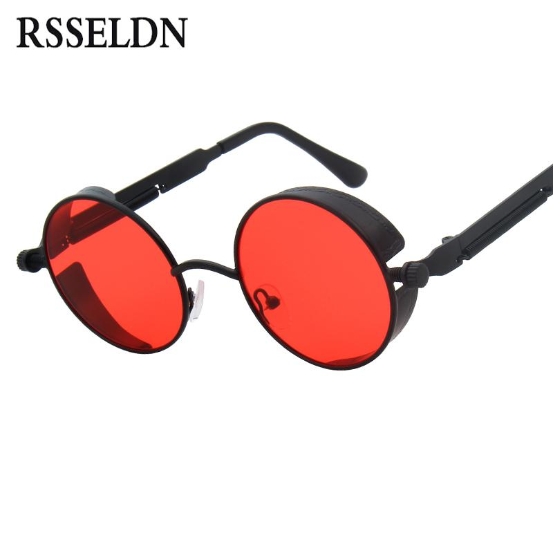 c8ee815fc8 RSSELDN Gothic Steampunk Sunglasses Men Women Round Fashion Glasses ...