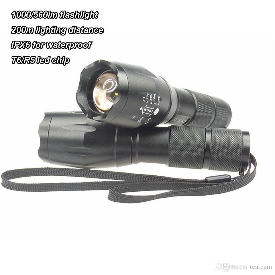 1000lm T6 / R5 LED lampe de poche super lumineux avec 200m éclairage distance de nuit randonnée randonnée d'urgence lampe de poche led lampe de poche