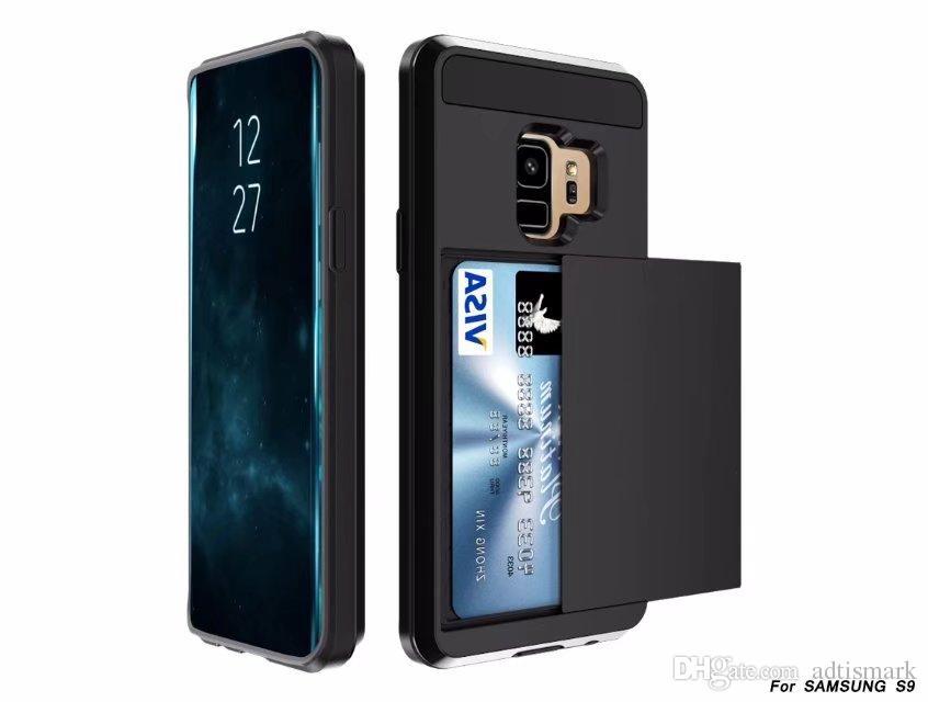 الجملة الهجين درع بطاقة الشريحة حالة فتحة بطاقة المحفظة PCTPU الغطاء الخلفي لآيفون 6/7/8/8 X زائد حالات سامسونج S8 S9 زائد