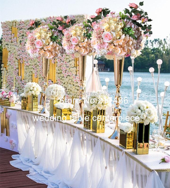 Wedding Gold Centerpiece Artificial Flower Arrangements Metal Stand