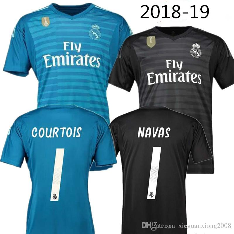 2018 2019 Real Madrid Goalkeeper Jerseys 18 19 Keylor Navas Jersey Camiseta  Portero 25 Thibaut Courtois 1 Real Madrid BALE Maillot De Foot Por ... 5361a27945b8a