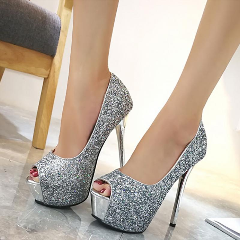 c223e47ba110ac Brand Fashion High Heels 12cm Bling Platform Stilettos Wedding Shoes Ladies Peep  Toe Gold Red Party Shoes Wedges Shoes White Shoes From Zhongfubag