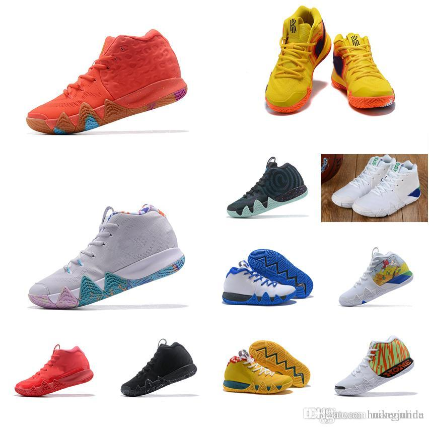 wholesale dealer 9d891 b830e 2019 Men Kyrie Irving Basketball Shoes Black Gold Team Red Lucky Charms  Sports Yellow Deep Royal New Arrivals 4 IV Sneakers Boots Tennis For Sale  From ...