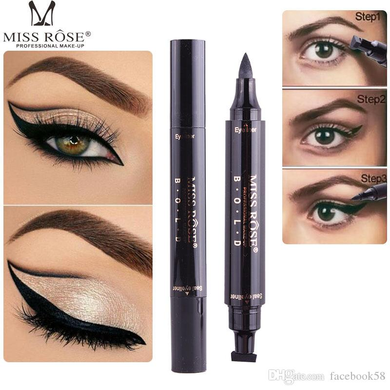 Brand MISS ROSE Charming Cat Eye Winged Eyeliner Sexy Eye Cosmetic Seal Stamp Wing Double Head Waterproof Eyeliner Pen Tool