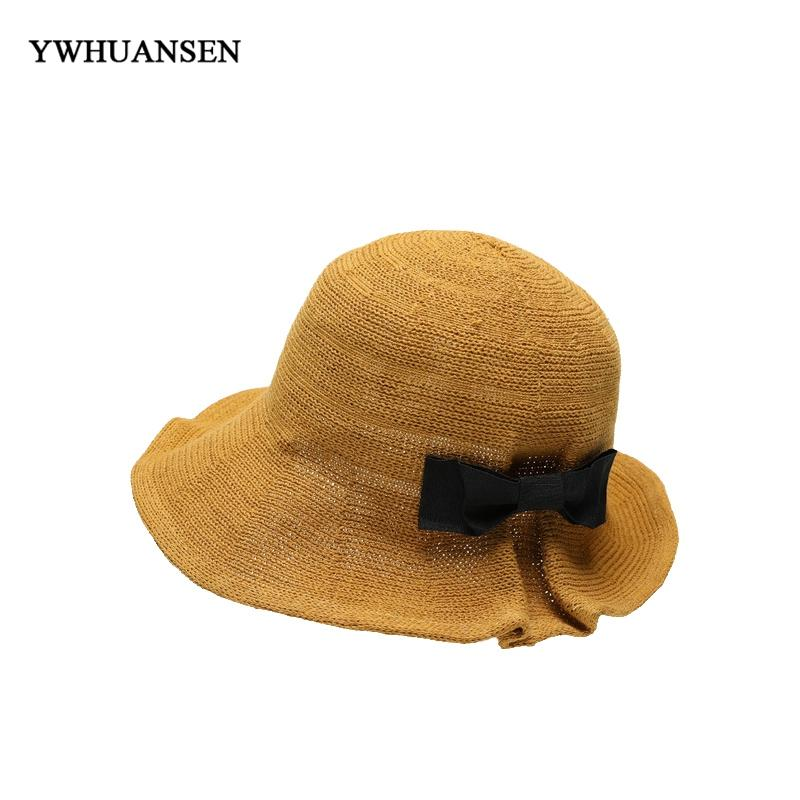 bd6176db8c06a YWHUANSEN 2018 New Korean Weaving Dome Bucket Hats Woman Summer Bow ...