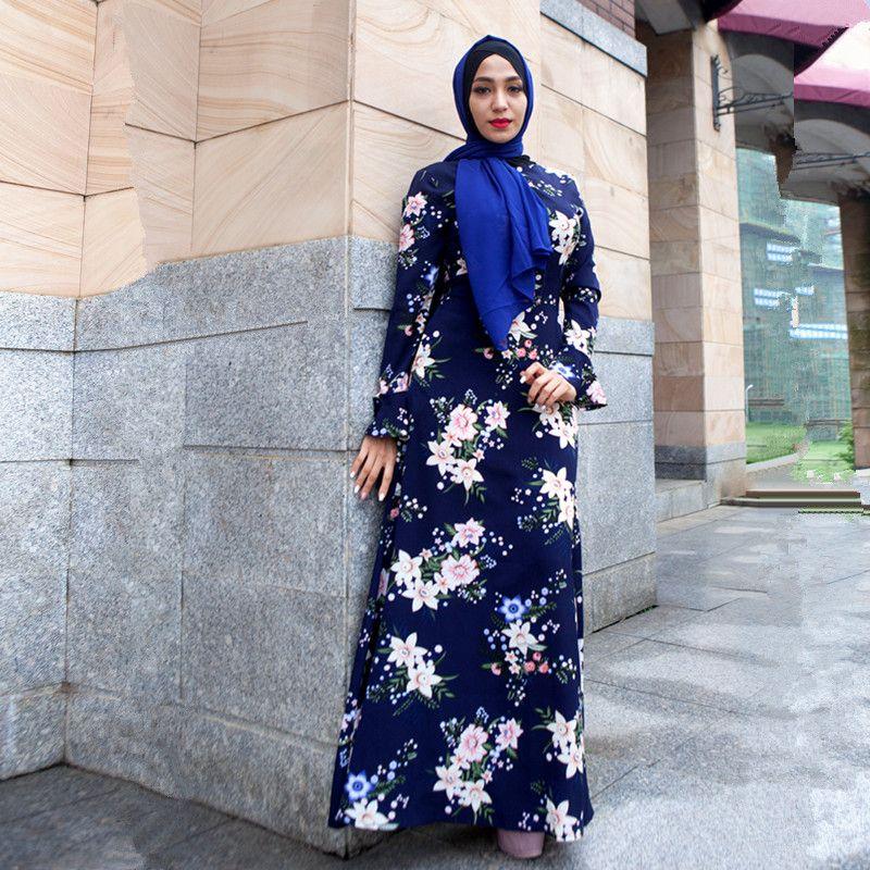 b6a0d3df0ee 2019 2018 New Women Long Sleeve Maxi Dress Floral Print Islamic Kaftan  Caftan Long Abaya Dress S XXL From Byshanel