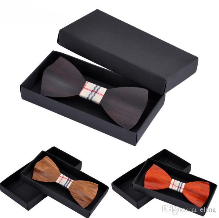 고급 나비 넥타이 나무 컬러 인쇄 남자 넥타이 로얄 가족 넥타이 핵심 및 결혼식 용품에 대 한 나비 넥타이를 설정