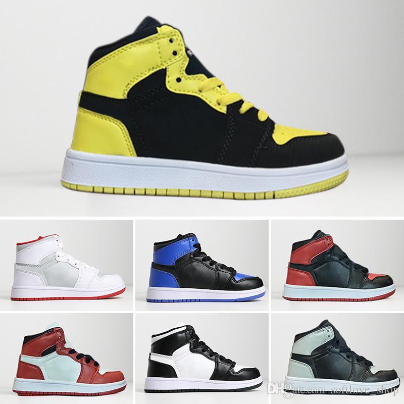 7a3acc46d24 Acheter Nike Air Jordan 1 Retro Vente Chaude 1 1s Enfants Chaussures De Basket  Ball Top Qualité Garçons Filles Enfants Babys Sneakers Été Outdoor Casual  ...