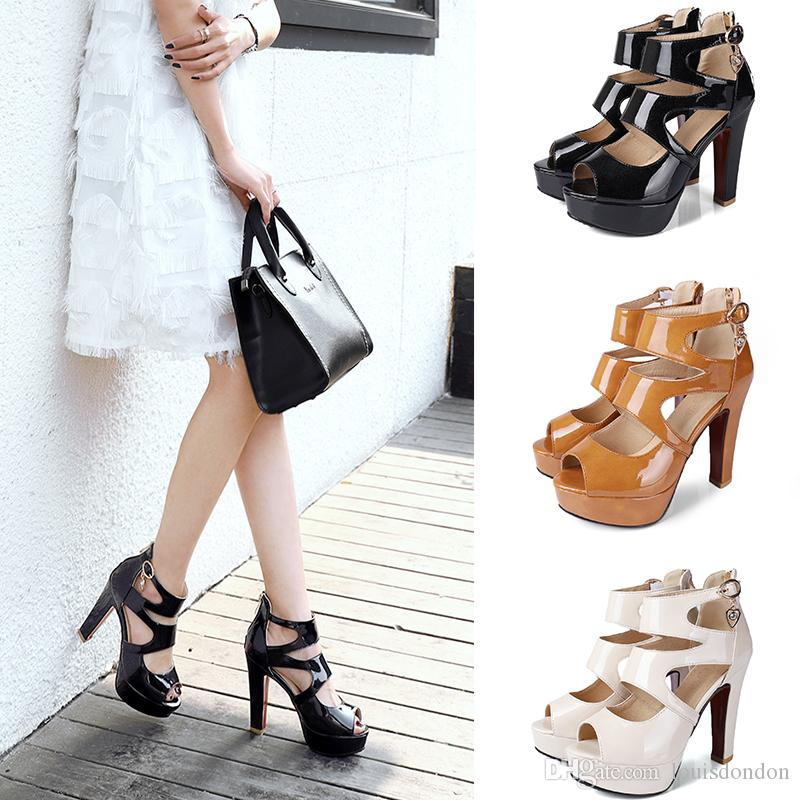 3f5add72cbb2 2018 Summer High Quality Patent Leather Peep Toe Platform Super High Heel  Ankle Back Zip Women S Sandals Ladies Shoes Leather Sandals Wedding Sandals  From ...