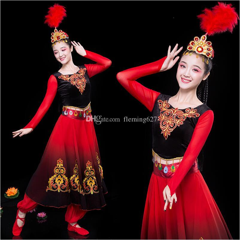 2019 Folk Dance Wear Vintage Ethnic Princess Dress Red Xinjiang Uygur Dance  Clothing National Performance Stage Costumes For Singers From Fleming627 e537f5e78