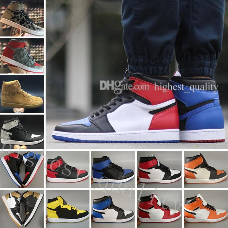 OG 1 top 3 Gold mens basketball shoes sneakers sports Banned Bred Chicago White Black Toe UNC Royal Fragment Wheat Camo Shattered Backboard