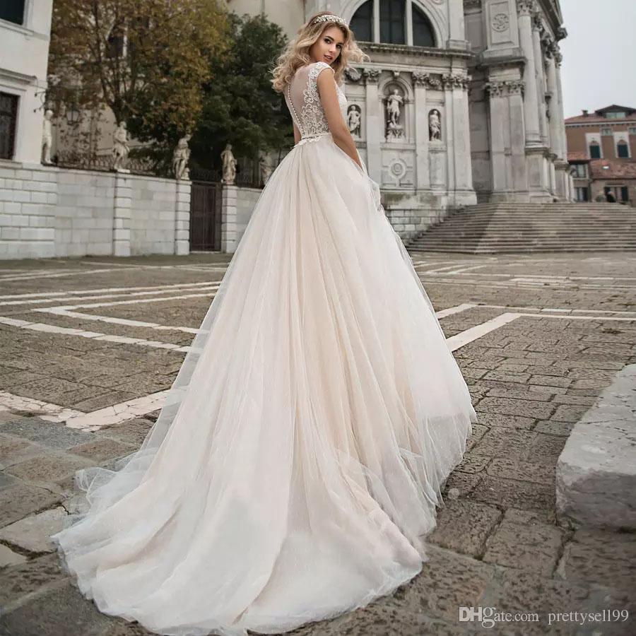 Пользовательские плеча Кружева Свадебное платье 2021 с аппликациями Scoop шеи тюль линия Свадебные платья