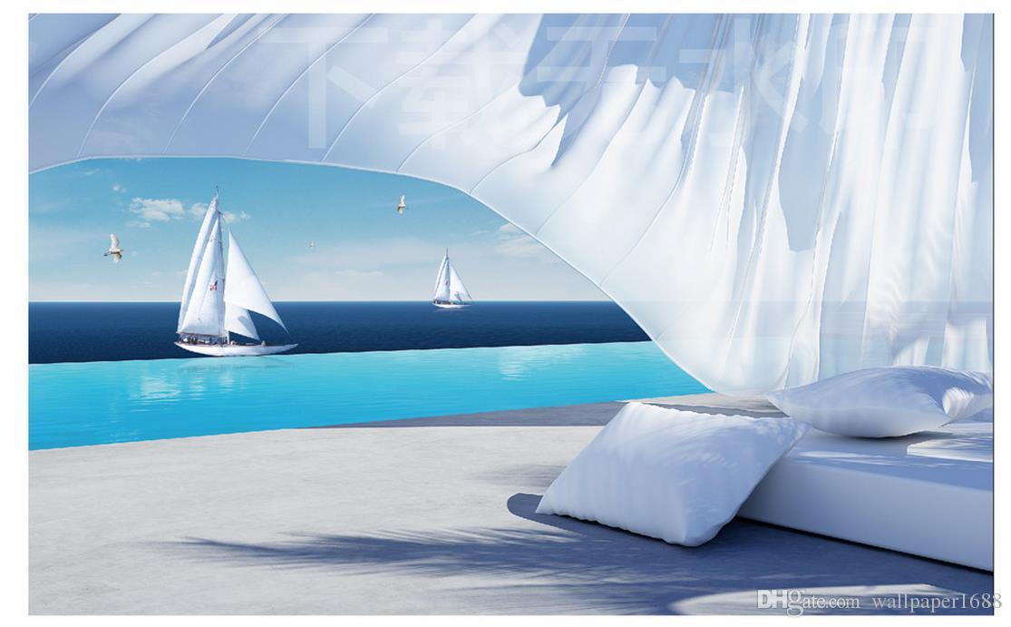 papel pintado de la foto de alta calidad 3D estereoscópica decoración de la pared de la ola del mar 3d 3D