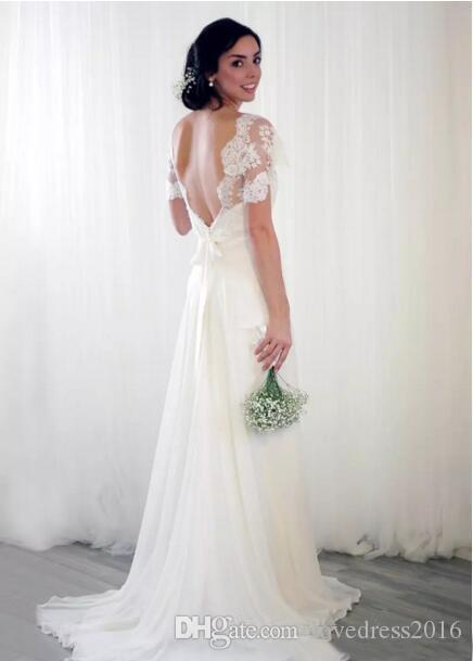 2019 Lace Capped Short Sleeves Bridal Dresses China V Neck Sexy Backless Long Chiffon A Line Wedding Dresses
