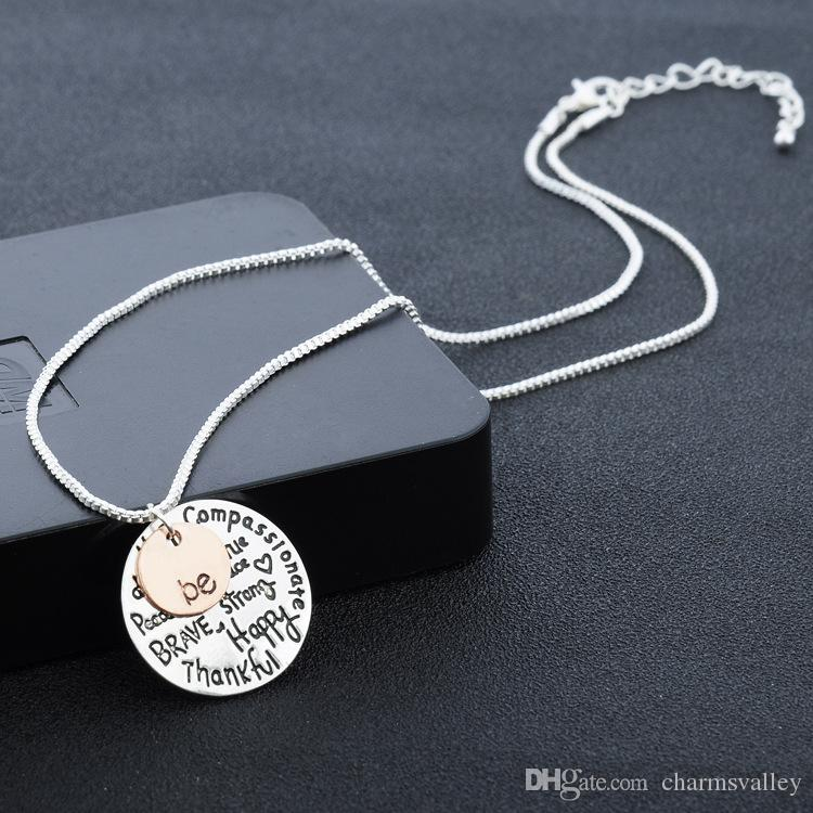 "Rose Gold Round ""Be"" Graffiti Friend Brave Happy Strong Thankful Charm Pendant Necklaces For Women Ladies Jewelry"