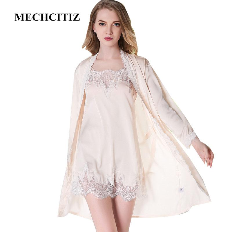 MECHCITIZ High Quality Women Robe   Gown Set Sexy Lingerie Silk Bathrobe  And Night Dress Sleepwear For Home Sleep Wear UK 2019 From Xaviere 604938f6d