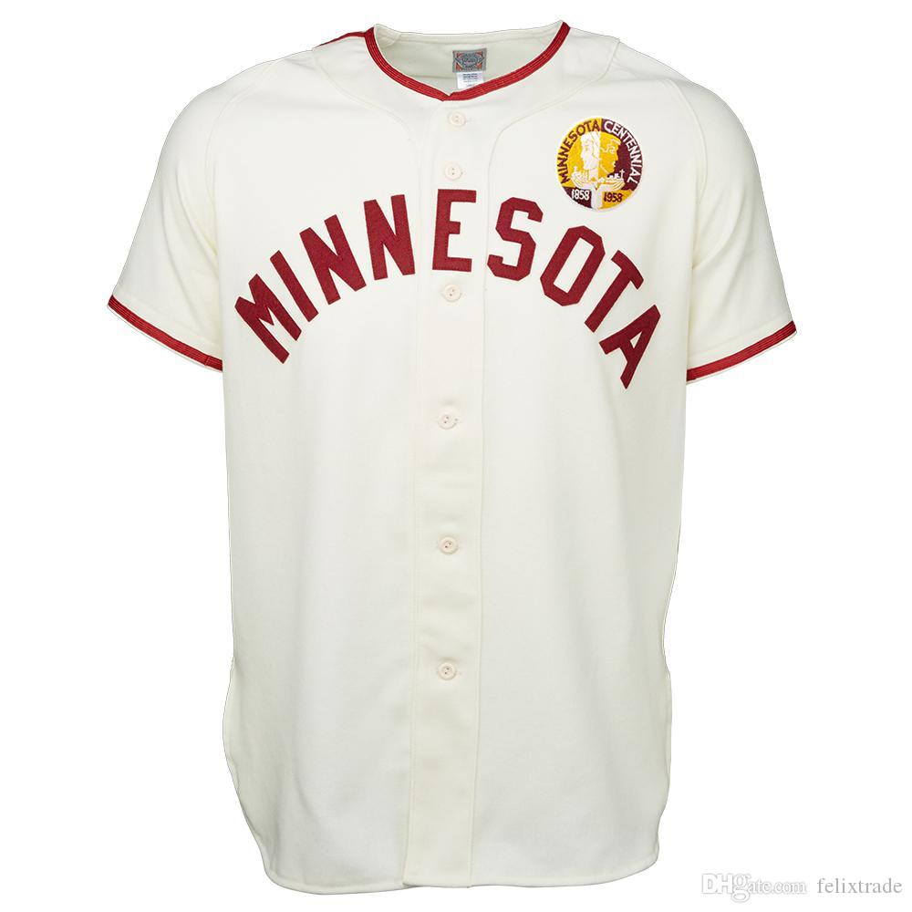 sports shoes 7d1d8 0ee8f UMN Minnesota Golden Gophers University of Minnesota 1958 Road Jersey  Double Stiched Baseball Jersey For Men Women Youth Customizable