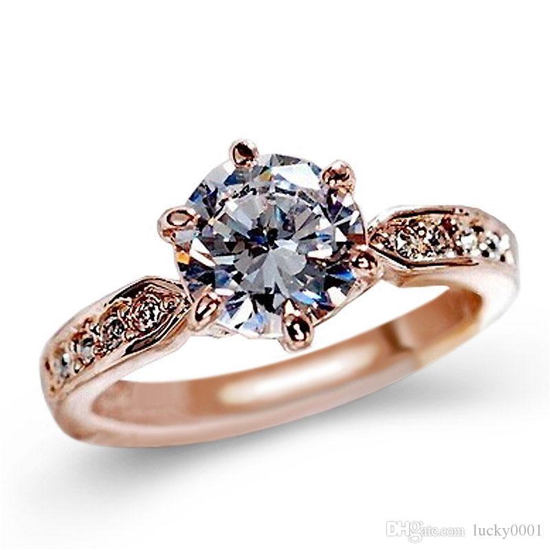 2019 1 75ct Aaa Zircon Engagement Ring For Women Rose Gold Wedding