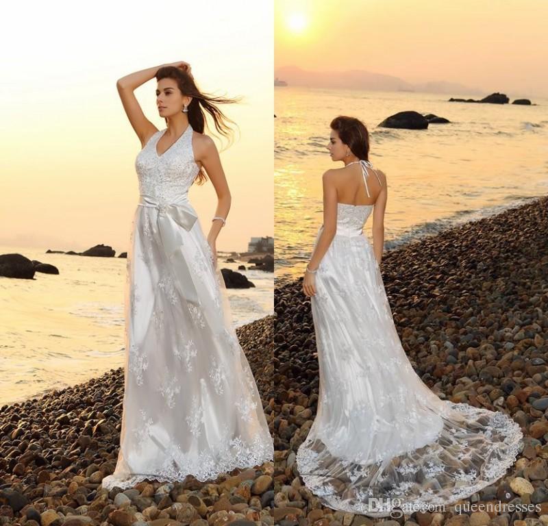 0b5434085af1e Sexy Lace Beach Wedding Dresses White Sheath Halter V Neck Sweep Train  Formal Wedding Gowns Bridal Dress Custom Made Brautkleider Online Party Wedding  Dress ...