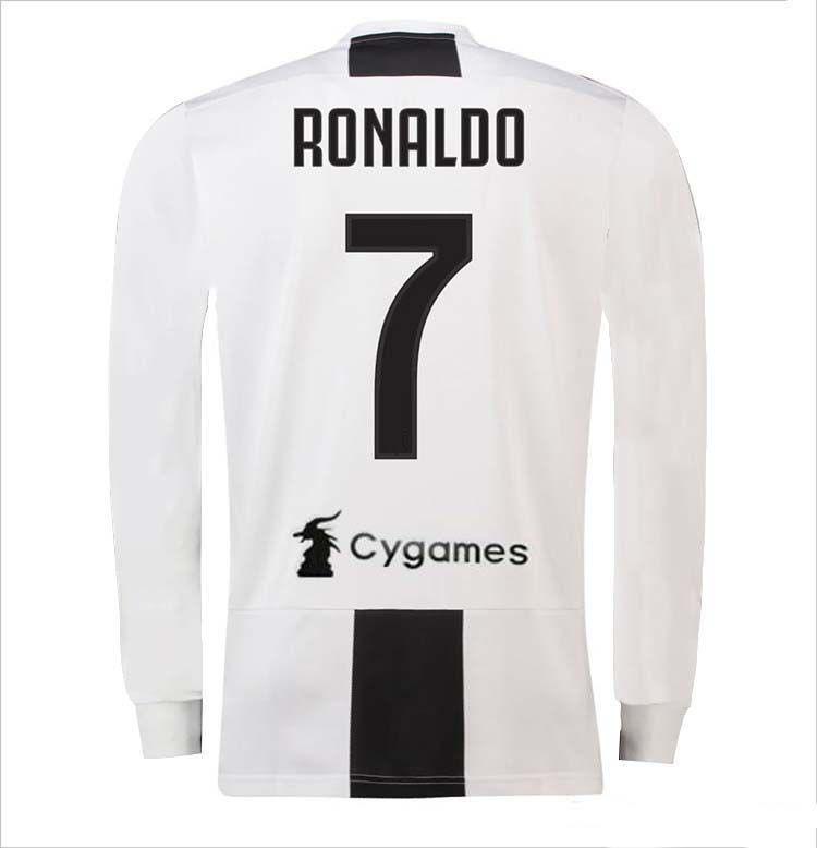 TOP 2019 CR7 Camiseta Juventus HOME BLANCA Manga Larga 18 19 RONALDO DYBALA  Camiseta De Fútbol MARCHISIO MANDZUKIC PJANIC COSTA Uniforme De Fútbol Por  ... 0f7ad77b358c6