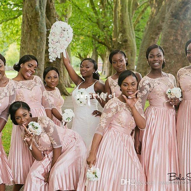 2019 Blush Rosa Da Dama de Honra Vestidos Apliques de Renda Plissado Elastic Mancha Chá Comprimento Da Dama de Honra Do Casamento Convidado Vestido Para A África Do Casamento