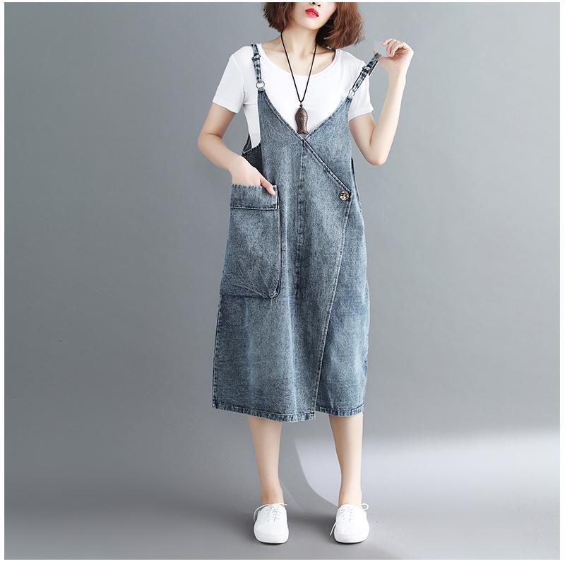 2018 Plus Size Women Jean Dress 2018 Summer New Literary Loose