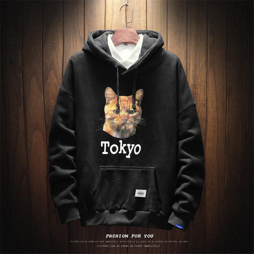 d88764f8f0 2019 Men S New Casual Cat Head Print Large Size Long Sleeve Mens Hoodies  Fashion Brand Business Casual Wild Cotton Sweatshirts Men From Caicloth