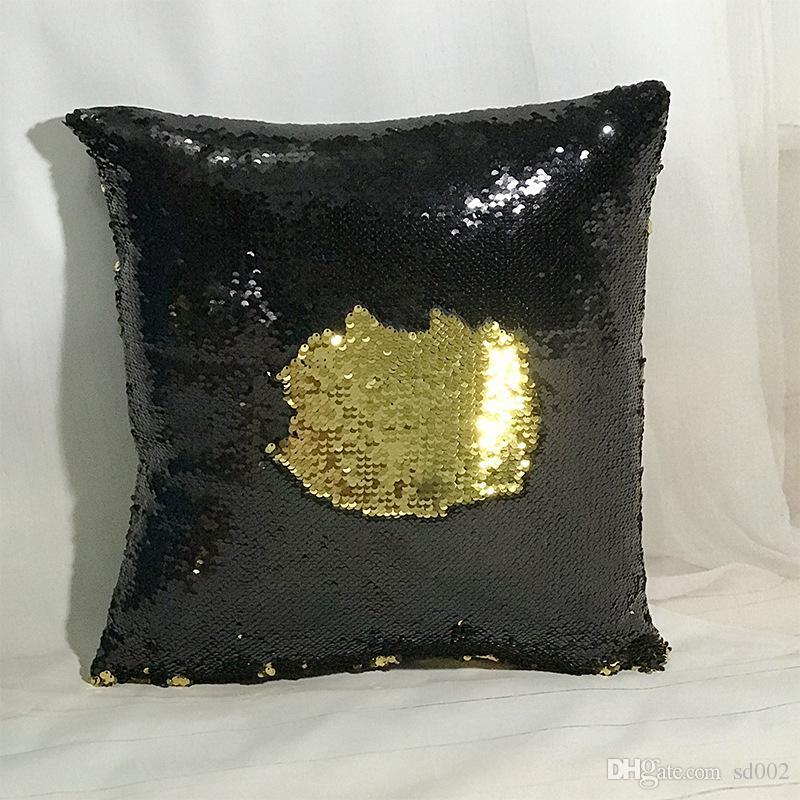 Sequins Pillow Case Magic Glamour Reversible Pillow Covers Sofa Bright Glitter Car Cushion Home Decorative Pillowslip Hot Sell 11xa J