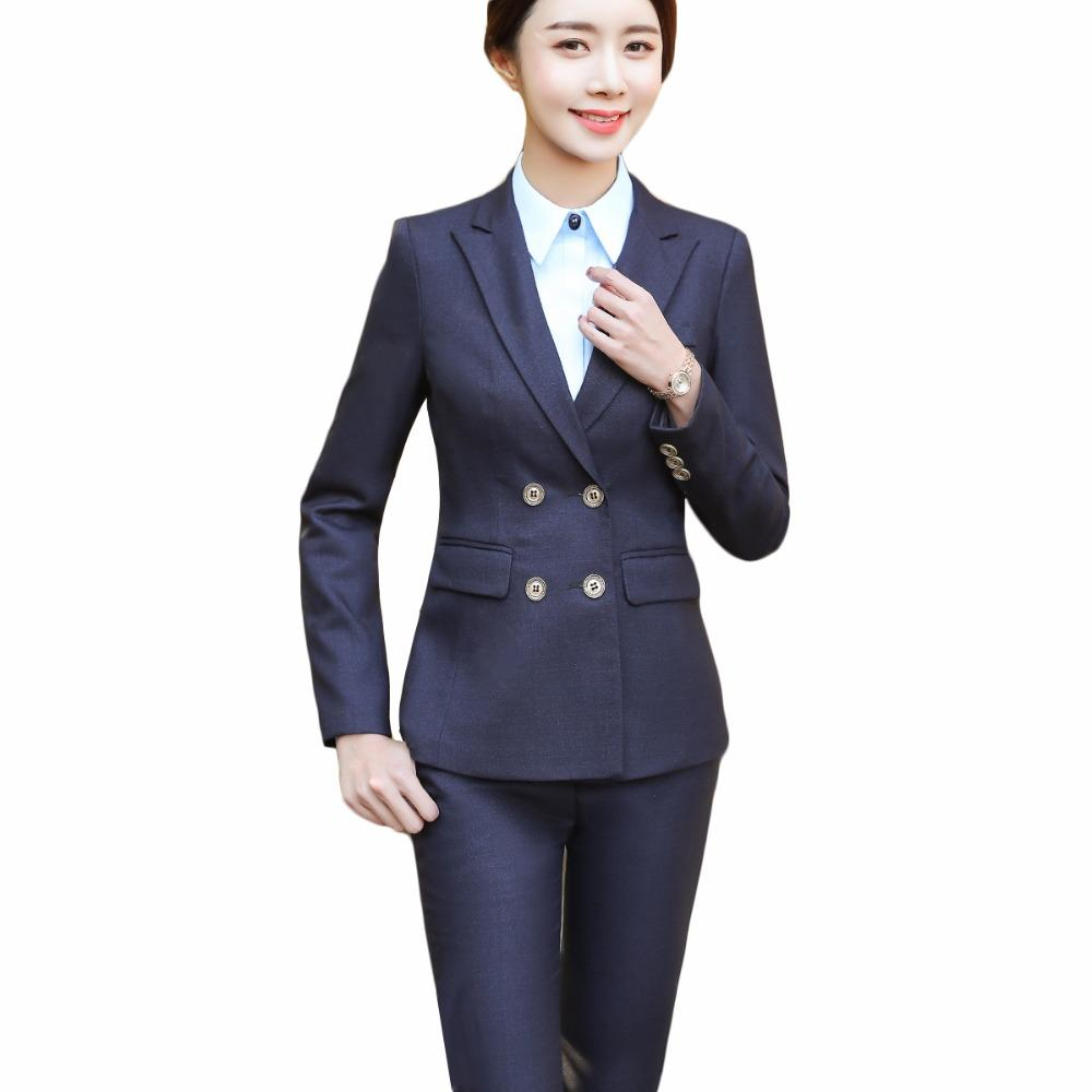 11c47bab7232 2019 2018 New Women Pant Suits For Office Lady Full Sleeve Eleblazer With  Button Two Piece Set Women Suits From Ppkk