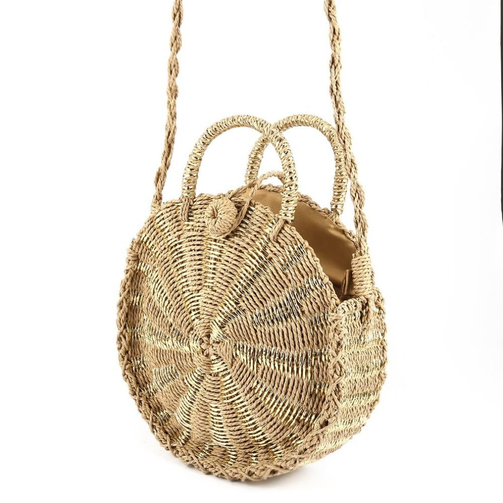 79a6ff4584 Women Handmade Round Rattan Woven Shoulder Bag Tote Circle Bohemia Straw  Knitted Bag Summer Beach Crossbody Bags Bags Of Straw Handbags For Women  Mens ...