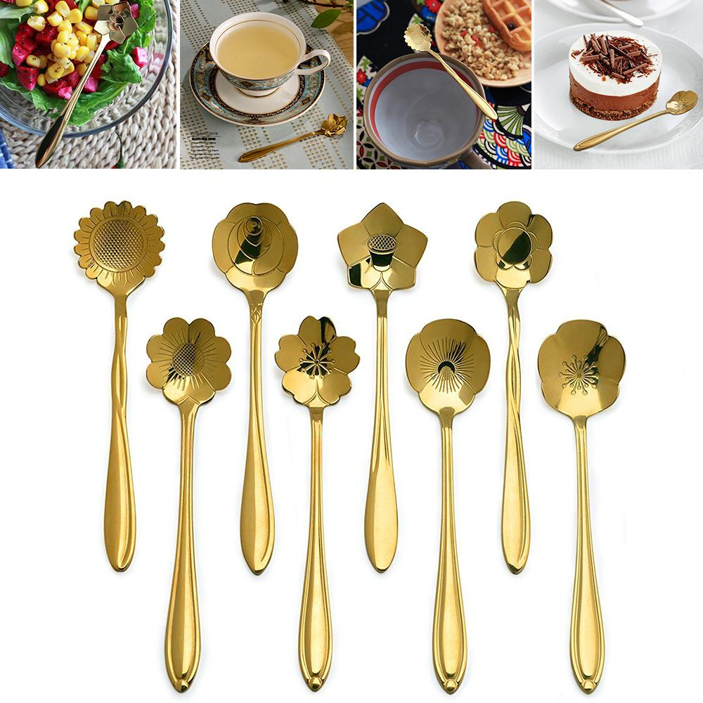 Stainless Steel Golden Cherry Blossom Spoon Flower Shape Tea Coffee ...