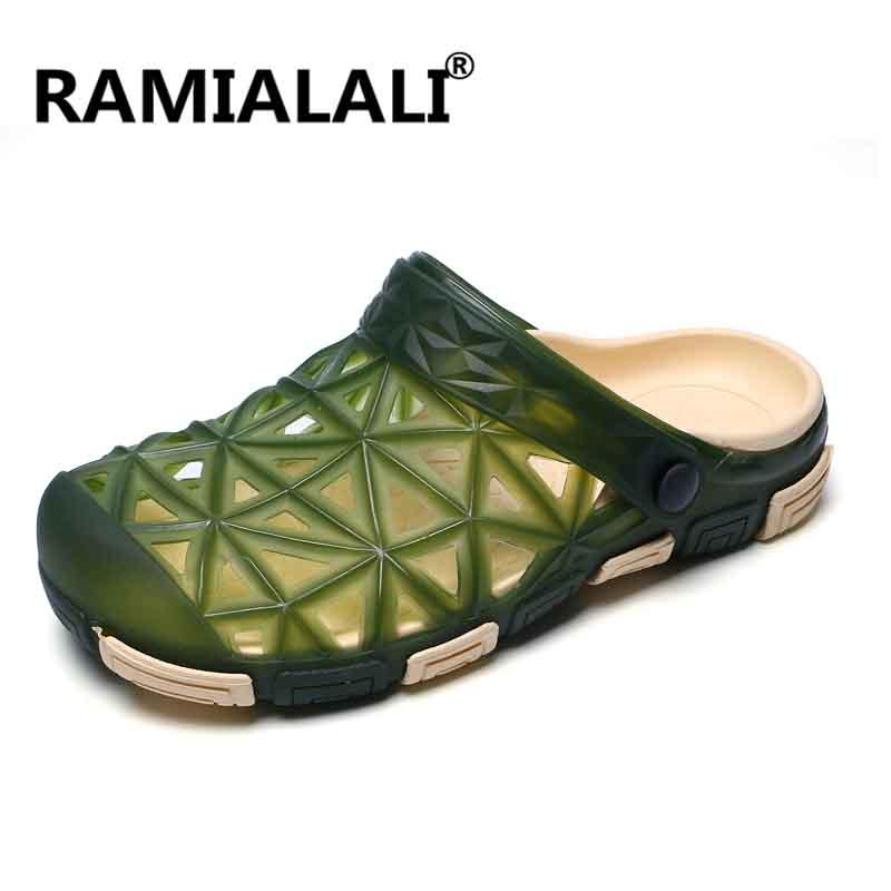 4f0d0d110717f Ramialali Summer Sandals Men Casual Shoes Mules Clogs Beach Slippers Male  Water Hollow Jelly Flip Flops Chaussure Homme Purple Shoes Ladies Footwear  From ...