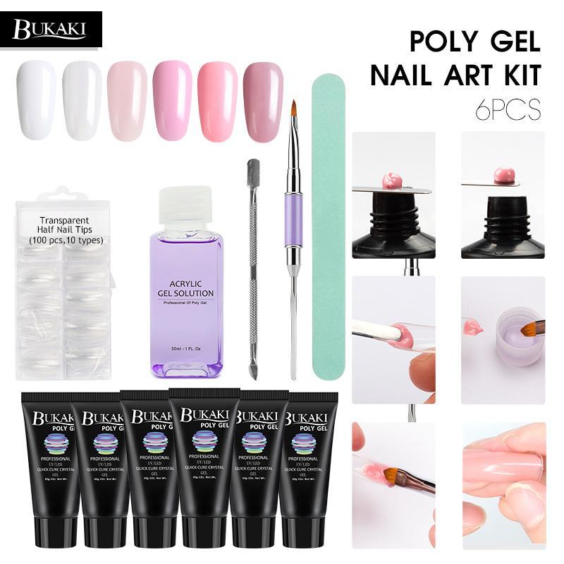 Poly Gel Nail Extension Set Uv Builder Gel Liquid Slip Solution Nail ...