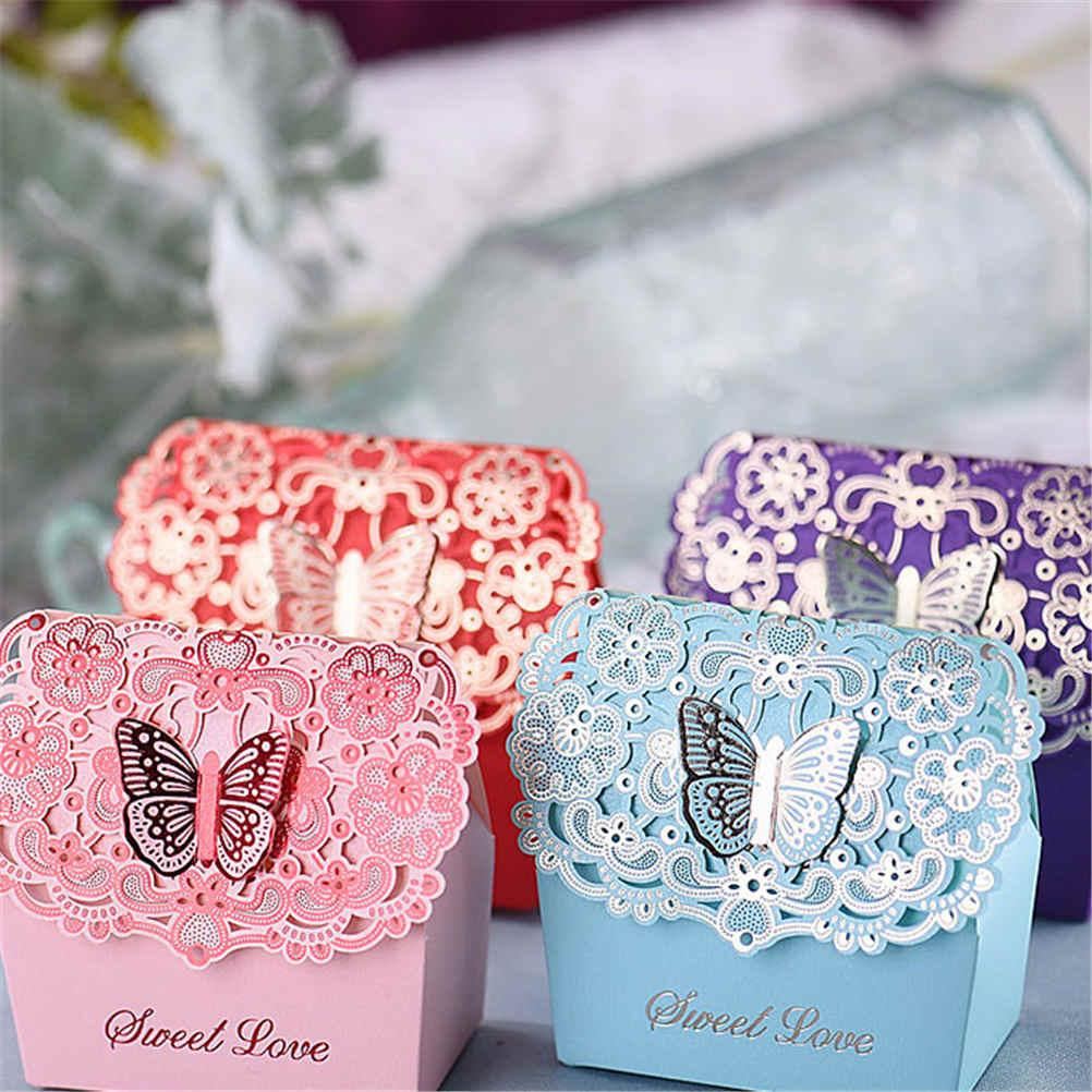 Wedding Favors Butterfly Candy Box Laser Cut Hollow Candy Chocolates ...